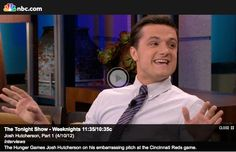 VIDEO: Josh Hutcherson was on The Tonight Show with Jay Leno last night.  Josh talked about the success of The Hunger Games, throwing the season opener pitch for the Cincinnati Reds, his experience buying a car online, appearing on ER as a child, his upcoming film Detention and more!