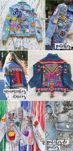 10 maneiras de customizar a sua jaqueta jeans! Dicas fáceis de DIY para deixar a peça mais estilosa. Patches, stencil, paetês, bordados,...