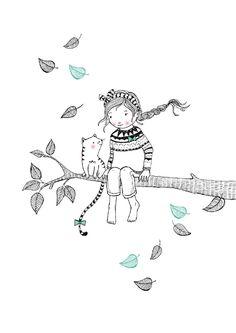Marieke ten Berge 'A4 Poster Tree Girl'