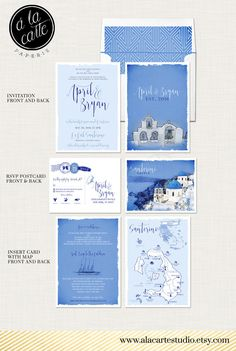 Santorini Greece  Greek Island Invitation Suite by alacartepaperie