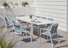 Table de jardin aluminium et verre rectangulaire Blooma Bacopia blanche - Castorama