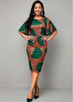 Round Neck Multi Color Ethnic Print Dress Buy it Now :D Short African Dresses, Latest African Fashion Dresses, African Print Dresses, Nigerian Fashion, Ankara Fashion, African Fashion Style, African Style Clothing, African Dress Designs, African Dress Styles