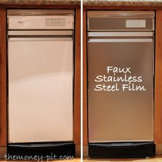 DIY - Turning White Appliances into faux Stainless Steel! - great if most of your appliances are stainless, but some aren't. Home Renovation, Home Remodeling, Camper Remodeling, Just In Case, Just For You, Diy Casa, Black Appliances, Faux Stainless Steel Appliances, Kitchens With White Appliances