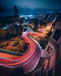 Lombard Street at night, San Francisco, Ca. How To Start Photography, Photography Basics, Street Photography, Landscape Photography, Exposure Photography, Scenic Photography, Night Photography, Photography Tutorials, Lombard Street