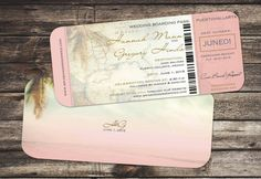 Boarding Pass Set Beach Destination mariage / / Antique carte paumes / / fard à…