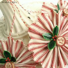 Magia Mia: Featured in 2013 Better Homes and Gardens Holiday Crafts Magazine Red Ticking Ornaments