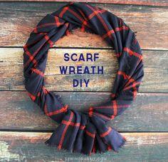 Easy Scarf Wreath - wrap a scarf around a wreath for a super simple DIY!