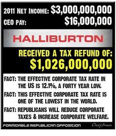 Halliburton made $3B and got refund of $1B. END RICH CORPORATE WELFARE+PAID PUPPET GOPs CYCLE OF DEPENDENCY ON TAXPAYER MONEY!! CUT THESE PIGS FROM THE TROUGH!!!!!