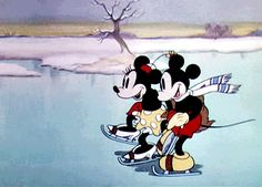 "Minnie & Mickey enjoying some ice skating in the 1935 short: ""On Ice"""