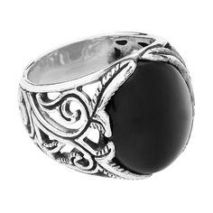 etNox hard and heavy ring med sort glassten. B: 20 mm.