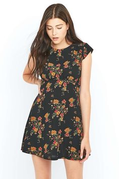 Urban Outfitters Daytime Floral Black Dress