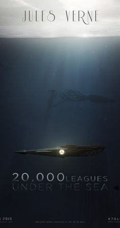 Illustrated Poster of the Nautilus and the Giant Squid - Creator and origin Unknown.