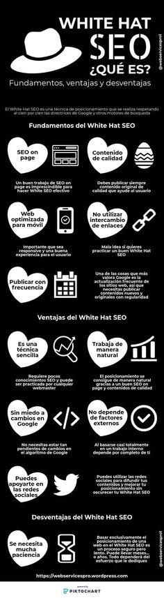 White Hat SEO: qué es y sus ventajas e inconvenientes #infografia Social Media Digital Marketing, Social Media Tips, Inbound Marketing, Content Marketing, Comunity Manager, Content Manager, Ux User Experience, Blogging, Computer Internet