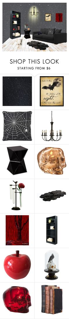 """""""Living (Dead) Room"""" by nicole022487 ❤ liked on Polyvore featuring interior, interiors, interior design, home, home decor, interior decorating, MACBETH, Rizzy Home, Southern Enterprises and Kosta Boda"""