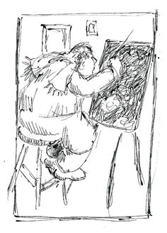 cold day in studio, gail siptak. drawing