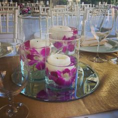 Orchid Candle Centerpieces at Trump Waikiki wedding reception