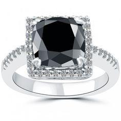 4.71 CT.Cushion Cut Black Diamond Engagement Ring 14k White Gold Vintage Style