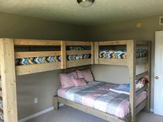 Triple bunk and loft beds with double or full size on bottom bunk. Plans from @jaybates