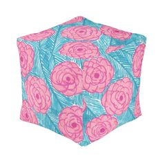 Tropical Palm Leaves and Flowers Square Pouf
