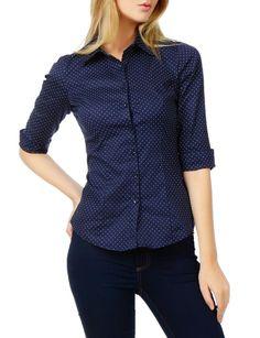 Womens Polka Dots Button Down Sleeve Tailored Shirt Dress Shirts For Women, Blouses For Women, Ladies Shirts, Women's Shirts, Work Shirts, Fashion Tips For Women, Womens Fashion, Polka Dot Shirt, Polka Dots