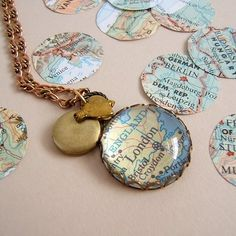 this would be a cool idea to try to make. from this etsy seller: http://www.etsy.com/listing/63716927/home-vintage-map-necklace?ref=sr_list_20&ga_search_query=map&ga_search_type=handmade&ga_page=2&order=&includes[0]=tags&includes[1]=title&filter[0]=handmade