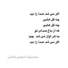 محمدرضا شفیعی کدکنی ●  اگر مى شد صدا را ديد چه گل هايى چه گل هايى که از باغ صداى تو به هر آواز مى شد  چيد اگر مى شد صدا را ديد #محمدرضا_شفیعی_کدکنی