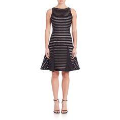 Aidan Mattox Striped Flare-Hem Cocktail Dress ($345) ❤ liked on Polyvore featuring dresses, apparel & accessories, black, no sleeve dress, stripe dress, flare dress, aidan mattox and striped cocktail dress
