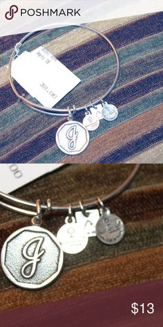 Alex and Ani Energy bracelet Initial J letter Silver tone adjustable size , good condition used , is just the bangle   thanks Alex And Ani Jewelry Bracelets
