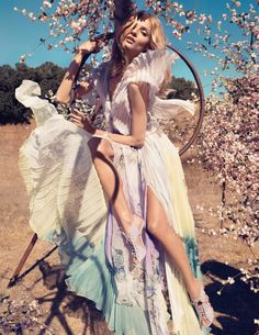 Cherry blossoms fashion photography for vogue