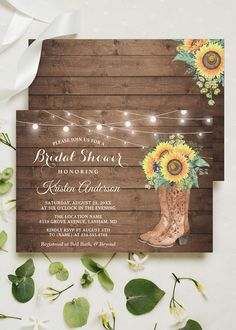 A Rustic Western Boots Floral Invitation Suite, with items from Invitations to RSVP card, Recipe Card, Label and more. Floral Invitation, Invitation Suite, Invitation Design, Recipe Cards, Bridal Shower Invitations, Western Boots, Rsvp, Stationery, Label