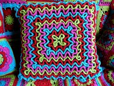 Squiggly, Wiggly Crochet Cushion