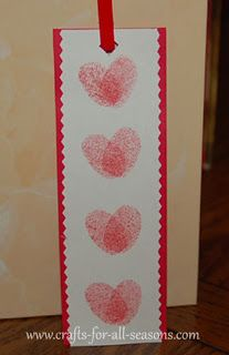 heart thumb print bookmark (use scissors skills with regular and pinking shears as part of therapy, plus hole punch for threading ribbon)
