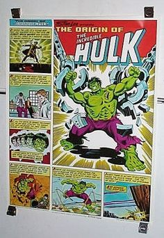1980 Rare vintage original 28 x 22 Coca Cola Coke Origin of the INCREDIBLE HULK MARVEL COMICS POSTER by supervator. 1000's MORE RARE VINTAGE MARVEL AND DC COMICS POSTERS AND COLOR GUIDE COLORIST'S ART PAGES AT SUPERVATOR.COM