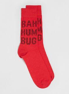 Red Christmas Bah Humbug Socks - Topman