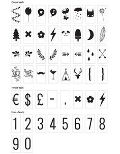 A Little Lovely Company Lightbox Symbol Set: Numbers & Symbols