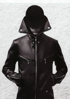 The new Dark Wave (21st Century) mens black leather ultra high collar zip up jacket