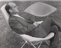 Harry Bertoia on his Bird Lounge Chair