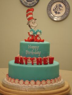 Dr. Seuss birthday - Cat in the Hat theme cake for a 4-year-old's Dr. Seuss birthday party. Letters and characters are fondant, with peppermints as border.