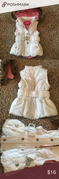Waterproof vest White vest with pink lining. Great in place of a full coat.  Fur trimmed hood can be zipper removed. Very versatile. Dollhouse Jackets & Coats Vests