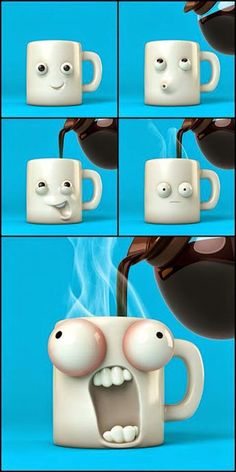 Un café caliente. One hot coffee. Also a little like me after the first cup, but the first frame would be eyes closed. Coffee Love, Hot Coffee, Coffee Mugs, Crackpot Café, Humor Grafico, Cute Mugs, Coffee Humor, 3d Animation, Clay Crafts