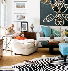 black, white and turquoise living room