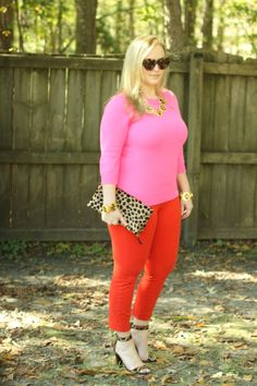 JCrew Vibrant Flame Minnie Pants Pink Cashmere Sweater Leopard Strappy Heels and Foldover clutch