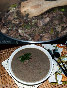 Cream of Mushroom Soup with Bacon and Leeks