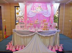 Backdrop and dessert / candy table for a Heavenly Little Angel themed birthday party. Design and setup by ParteeBoo - The Party Designers.