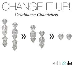 Change It Up! I adore the Casablanca Chandeliers by Stella & Dot! Versatility gets you three earrings in one--from chandelier to drop to stud. www.stelladot.com/kellyearnheart
