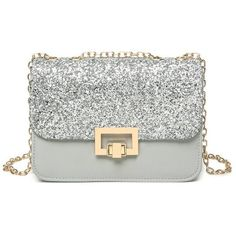 Sequin Metal Detial Crossbody Bag ($25) ❤ liked on Polyvore featuring bags, handbags, shoulder bags, white shoulder bag, white cross body purse, crossbody handbags, metal purse and white purse