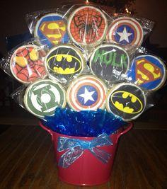 Super Hero, Batman, Spider-Man, Hulk, Cookie Bouquet, Super Hero Birthday Party