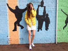 Cooler Magazine Intern Mia Kingsley styles her canary yellow jacket with a flippy sundress and bright trainers. Down Puffer Coat, Winter Looks, Downlights, Uniqlo, My Images, Skiing, Trainers, Bright, Magazine