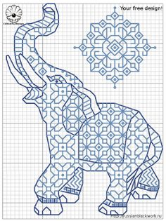 Cross-stitch Lucky Elephant biscornu ... no color chart available, just use the pattern chart as your color guide.. or choose your own colors...