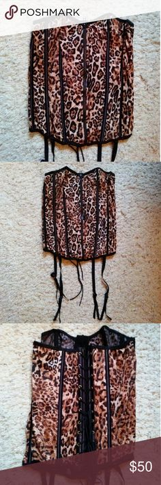 Adore Me lingerie leopard lace up corset Gorgeous new adore me lingerie leopard stretch fit boned corset with back lace up and attached garters. Size large. Victoria's Secret Intimates & Sleepwear Chemises & Slips